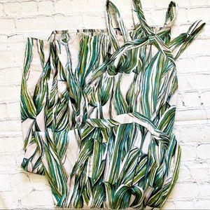 Japna Green & Cream Maxi Dress